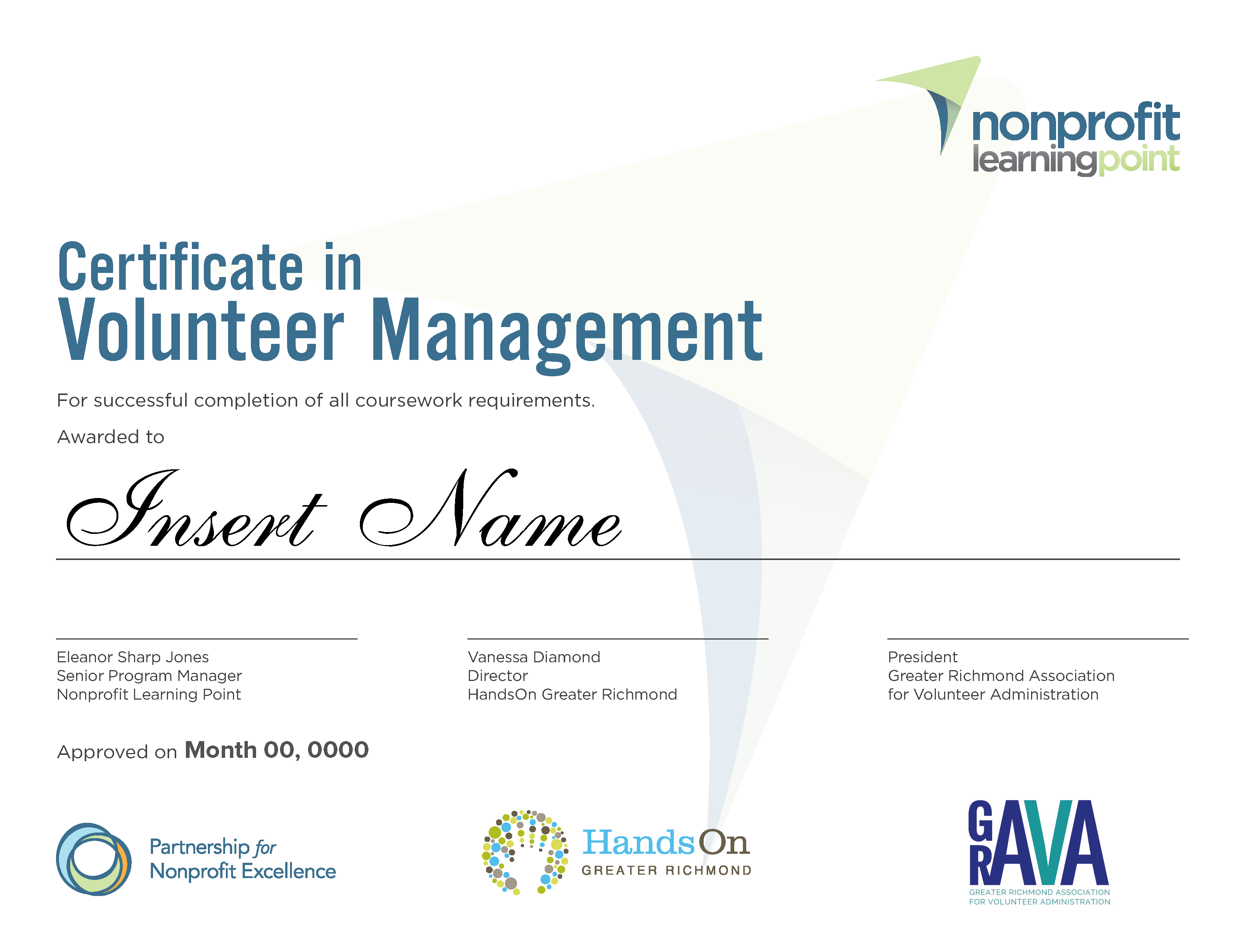 certificate in volunteer resources management